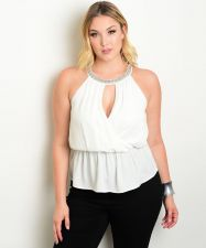 Buy PLUS SIZE 1X 2X 3X Womens Halter Top HAVE PLUS Embellished Solid Ivory Evening W