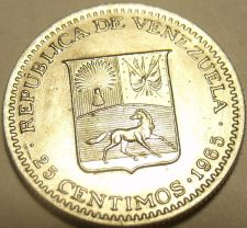 Buy Gem Uncirculated Venezuela 1965-I 25 Centimos~Head Of Bolivar~Free Shipping