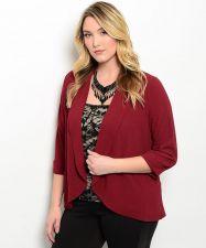 Buy SIZE XL 1XL 2XL 3XL Womens Career Wrap Blazer SHOP THE TRENDS Solid Burgundy