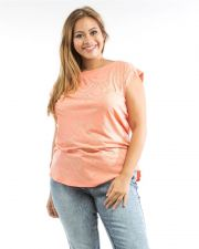 Buy Roman Peach Studded Boat Neck Sleeveless Button Back Knit Top Size 1X-3X