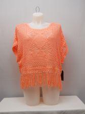 Buy Almost Famous Women's Crocheted Kimono Sweater Plus Size XXL Neon Coral Fringe