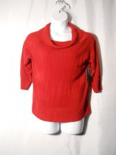 Buy Debbie Morgan Red 3/4 Sleeved Cowl Neck Thin Knit Sweater Size XL