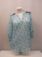 Buy No Boundaries Womens Top Size M Skull 3/4 Sleeve Lace Yoke Mandarin Collar Sheer