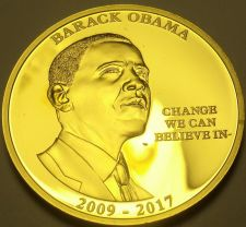 Buy Gold Plated Proof Barack OBama~Change We Can Beleive In 40mm Medallion~Free Ship