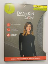 Buy Danskin Now Gray Performance Baselayer Tagless Brushed Crew Neck Top L 12-14