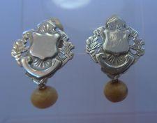 Buy Clip Earrings : Vintage Hand Made Silver Shield Or Crest Earrings w/ Bead
