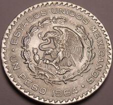 Buy Huge Gem Unc Silver Mexico 1964 Peso~INDEPENDENCIA Y LIBERTAD~Fantastic~Free Shi