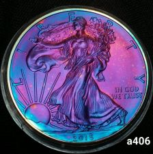 Buy 2015 Rainbow Monster Toned Silver American Eagle Coin 1oz uncirculated #a406