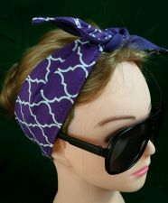 Buy Headband hair wraptie bandanna Quatrefoil print 100% Cotton Handmade