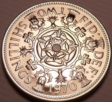 Buy Large Proof Great Britain 1970 2 Shillings~Tudor Rose~Last Year~Free Shipping