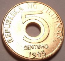 Buy Gem Unc Philippines 1995 5 Sentimos~1st Year Ever Minted~Hole In Center~Free Shi