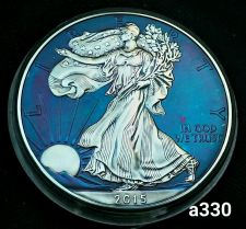 Buy 2015 Rainbow Toned Silver American Eagle 1 ounce fine silver uncirculated #a330