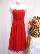 Buy Camila Clothing Red Chiffon Overlay Strapless Ruched Holiday Party Dress Size M