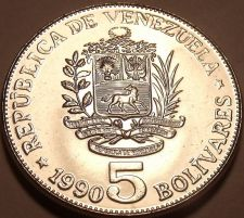 Buy Huge Gem Uncirculated Venezuela 1990 5 Bolivares~Wow Excellent Coin~Free Ship