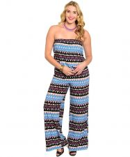 Buy Jumpsuit PLUS SIZE 1X-2X-3X H.B.G.B. Geometric Multi Color Wide Leg Strapless
