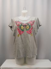Buy PLUS SIZE 1X Asymmetrical Knit Top STYLE&CO Gray Jeweled Floral Batwing Sleeves