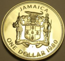 Buy Large Rare Proof Jamaica 1980 Dollar~Only 2,688 Minted~Bustamante~Free Shipping