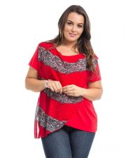 Buy Dila Red Chiffon Overlay Short Sleeves Scoop Neck Pullover Knit Top Size 1X-3X