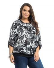 Buy Takuni Floral Dolman Tab Sleeves Scoop Neck Lace Trim Pullover Top Size 1X-3X