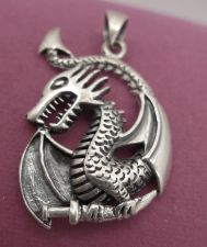 Buy Pendant : Dragon or Serpent Holding a Dagger Sterling 925 Silver FREE shipping