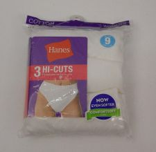 Buy PLUS SIZE 9 Hi-Cut Panties 3-Pack HANES White Tagless Wide Waistband Pre-Shrunk