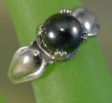 Buy sz 5.5 RING Vintage Sterling Silver w/ Magnetic Shiny Hematite Ball Bead