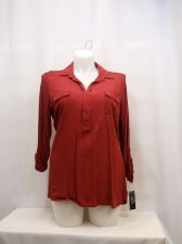 Buy Womens Top Size XL Style & Co Solid Plum Tart Long Tab Sleeves Collared V-Neck
