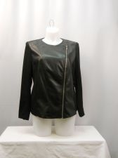 Buy Notations Black Faux Leather Front Long Sleeve Motorcycle Jacket Plus Size 1X 3X