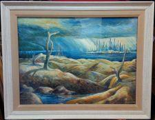 """Buy CANADIAN LANDSCAPE ARTIST MARK BRENNAN (1968-) """"NIRVANA"""" OIL ON BOARD"""