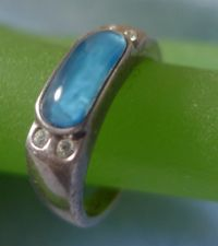 Buy sz 7 Sterling 925 Silver Ring w/ Baby Blue Powder Blue Jelly Stone & Rhinestones