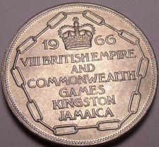 Buy Gem Unc Jamaica 1966 5 Shillings~Commonwealth Games Kingston Jamaica~Free Ship
