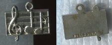 Buy Vintage Music Charm : Rectangle Wells Sterling Music Staff Charm