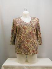 Buy Karen Scott Paisley Multi Color 3/4 Sleeves V-Neck Career Knit Top Size 1X