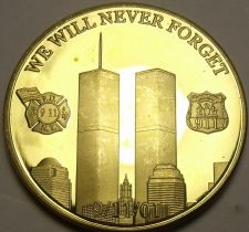 Buy 24k Gold Plated 911 We Will Never Forget~Home Of The Brave~Proof Medallion~Fr/Sh