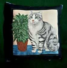 Buy Throw Pillow Cat Print handmade New