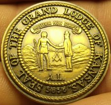 Buy Large 32mm Solid Bronze Grand Lodge Of Kansas Bi-Centennial Medallion~Free Ship