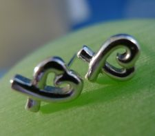 Buy Pierced Post Earrings : Sterling Silver Inspired Open Loving Hearts