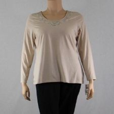 Buy Charter Club Tan Top Long Sleeves Beaded Embroidery Neck Tee Shirt 1x