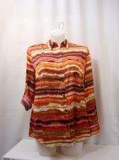 Buy Jones New York Striped Collar Neck Tab Long Sleeves Breast Pockets Top Size 1X