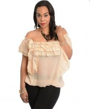 Buy SIZE S L Womens Sheer Top 7COLORS Beige Ruffled Square Neck Batwings Off Shoulde