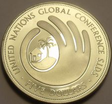 Buy Exremely Rare Silver Proof Barbados 1994 $5.00~SIDS Conference~2,000 Minted~F/S