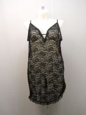Buy Secret Treasures Women's Floral Lace Chemise Size 3X 22-24 Solid Black Sheer