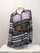 Buy SIZE L Womens Belt Button Shirt NO BOUNDARIES Long Sleeve Lace Yoke Sheer Stripe