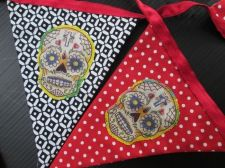 Buy Skull RED & Black Cotton Fabric Bunting Double Sided Banner 6 Flags 100 cm 39 in