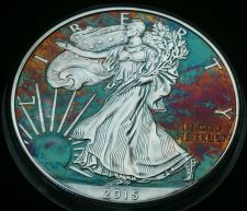 Buy 2015 Rainbow Toned Silver American Eagle Coin 1 ounce silver uncirculated #a280