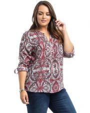 Buy Araza Coral Paisley Long Tab Roll Sleeve Mandarin Stand Up Collar Top Size 1X-3X