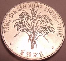 Buy Gem Unc South Vietnam 1971 F.A.O. Issue 1 Dong~Rice Plant~1st Year Ever~Free Sh