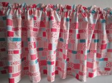 Buy Pink Patchwork Fabric Curtain Door Valance Window Topper 18x59 in with Cord 1 yd