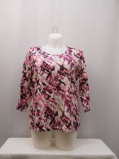 Buy Plus Size 1X Top Karen Scott Print 3/4 Sleeves Scoop Neck Casual Pullover Knit