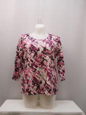 Buy Plus Size 1X Top Karen Scott Print 3/4 Sleeves Scoop Neck Casual Pullover Knit